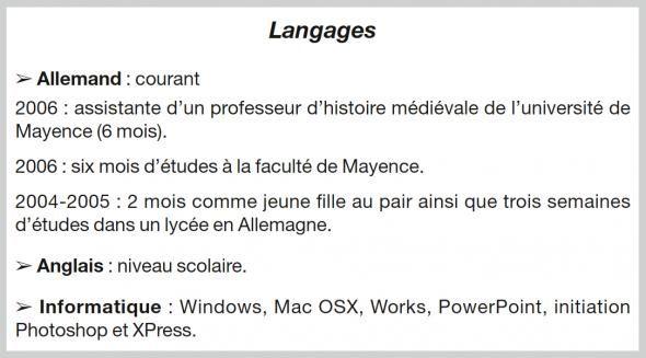 langue curriculum vitae