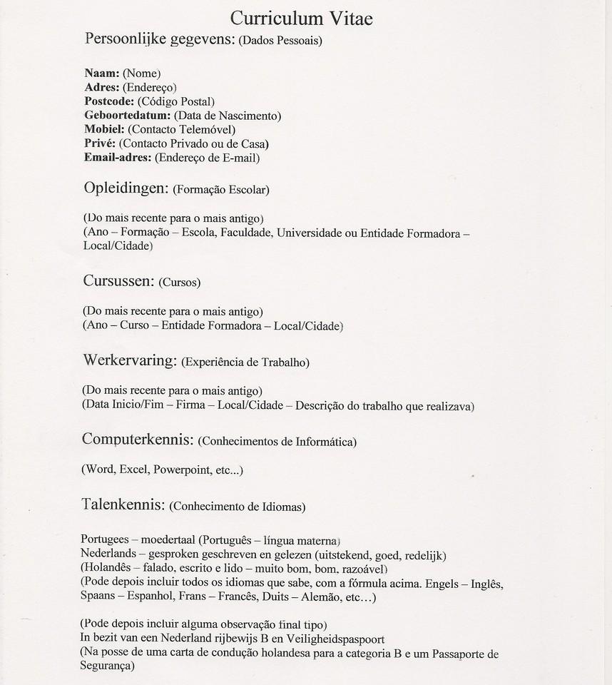 Fazer Curriculum Vitae Portugues
