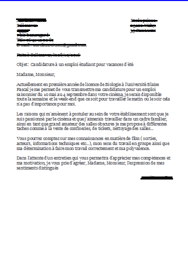 lettre de motivation job week end