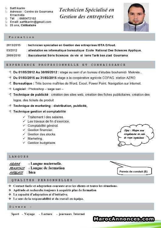 Exemple de cv technicien spécialisé en informatique ...