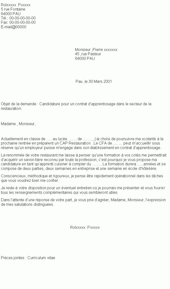 lettre de motivation apprentissage serveuse