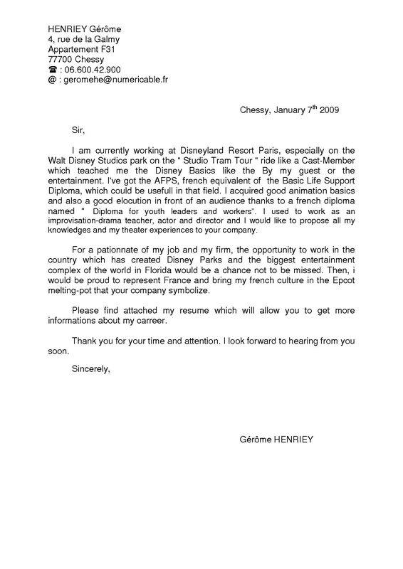 exemple lettre de motivation parc d u0026 39 attraction