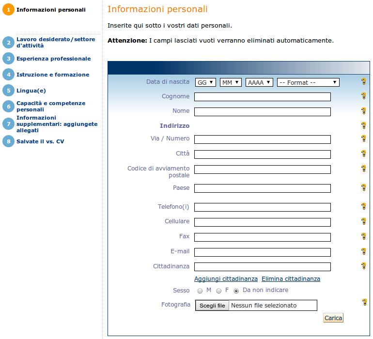 Curriculum Vitae Formato Europeo Da Compilare Online