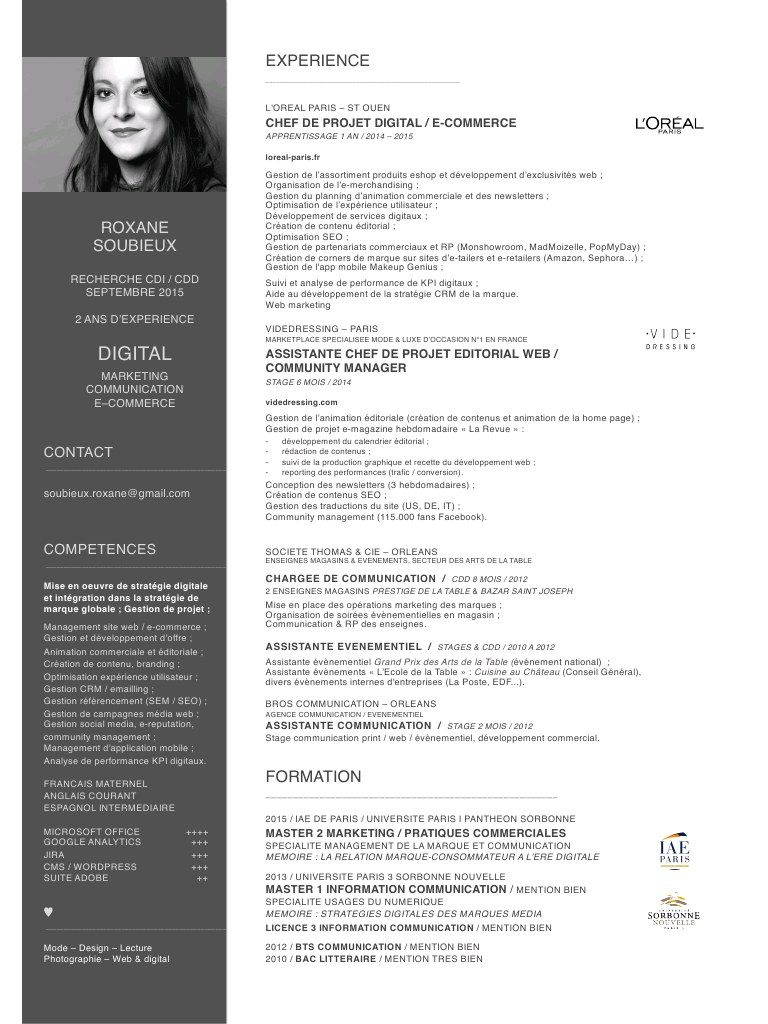 exemple de cv master ecole de commerce