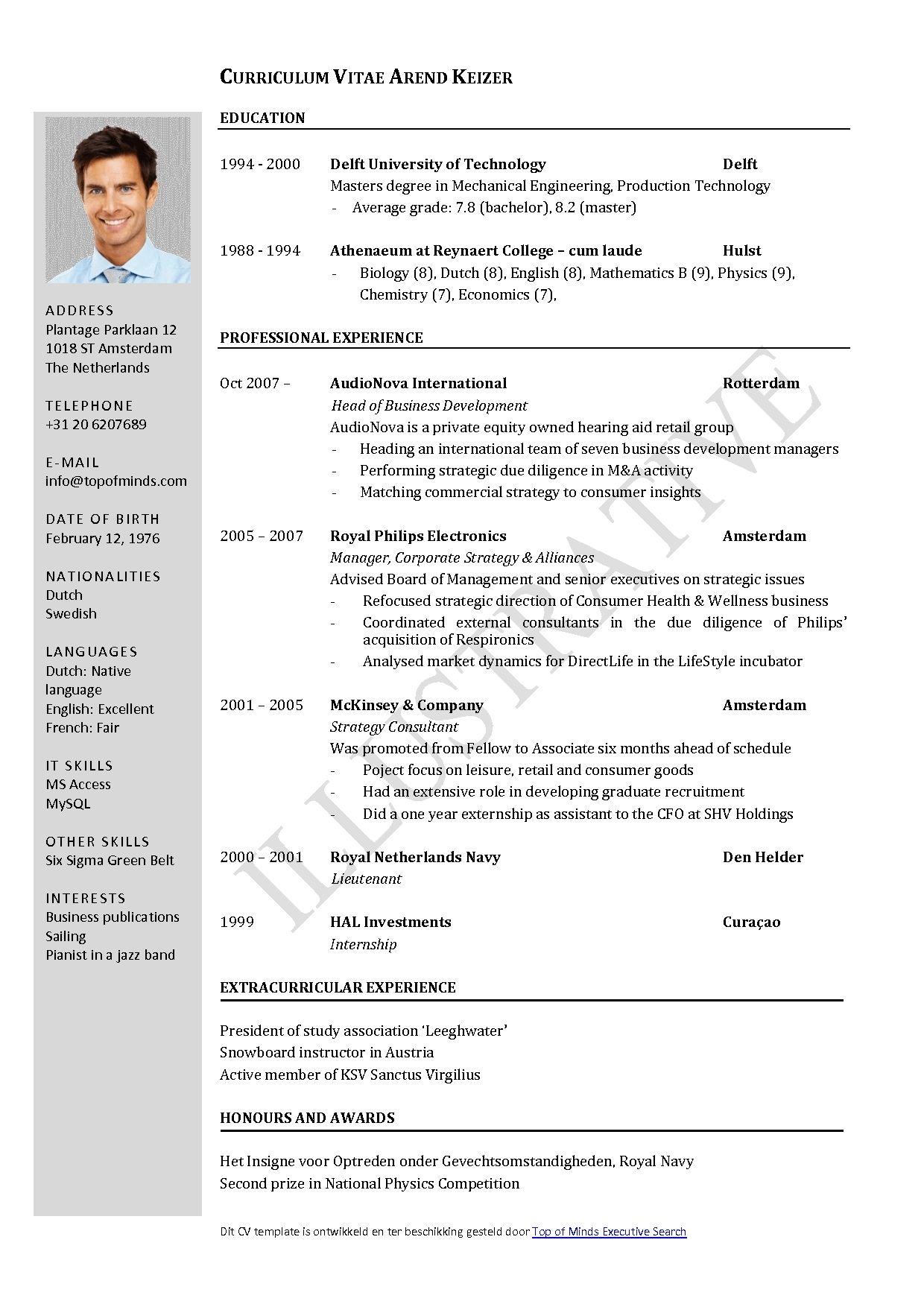 curriculum vitae template open office