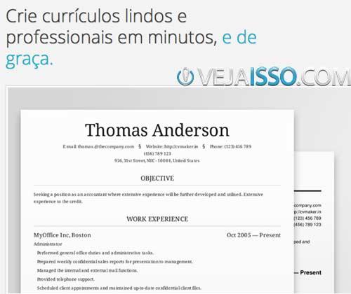 Fazer Curriculum Vitae Online