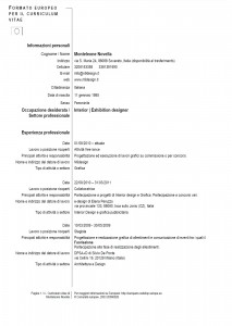 Curriculum vitae esempio