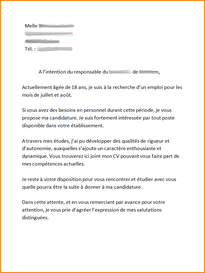 exemple de lettre de motivation pour job d u0026 39  u00e9t u00e9 18 ans