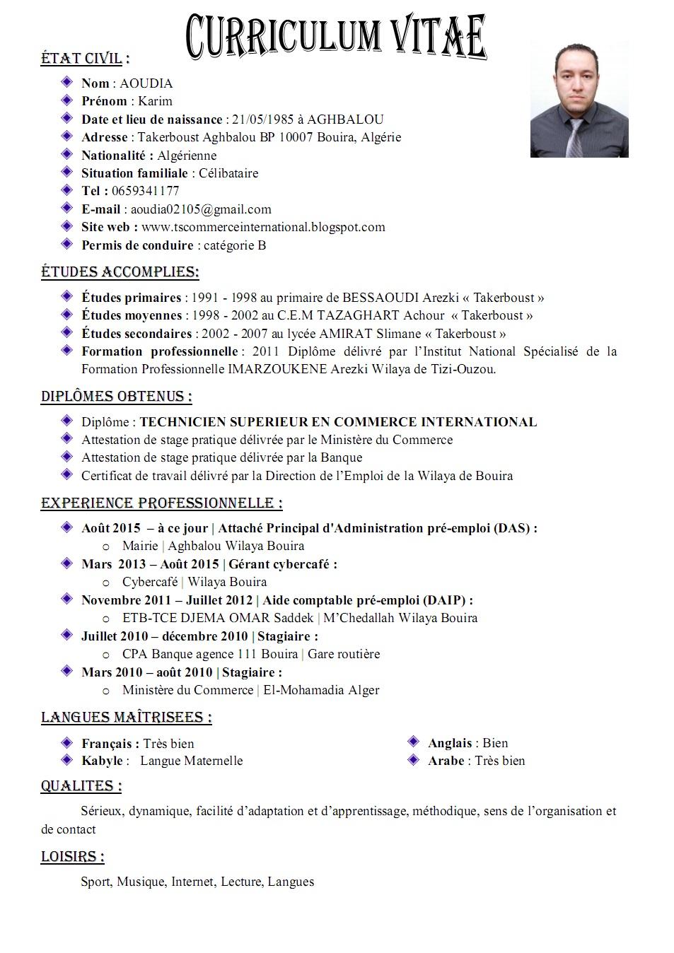 Exemple De Cv Algerie Simple Laboite Cv Fr