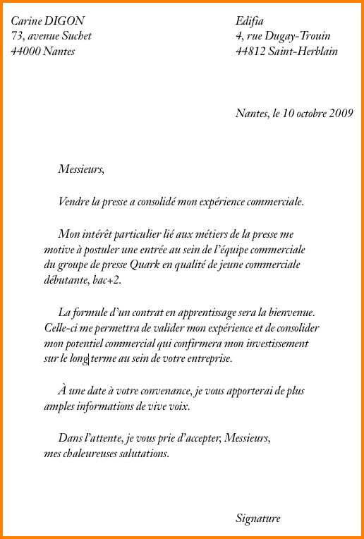 lettre de motivation d u0026 39 apprentissage