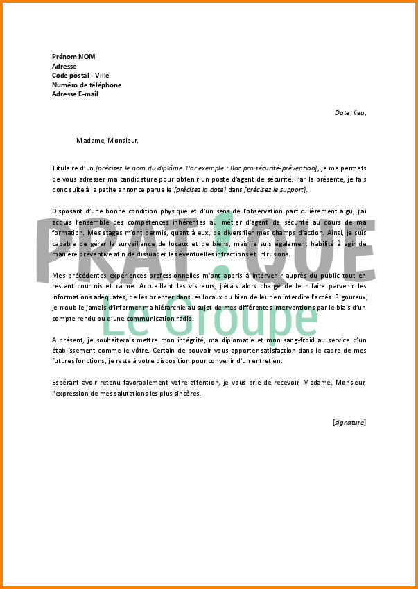 lettre de motivation agent de pr u00e9vention et de s u00e9curit u00e9