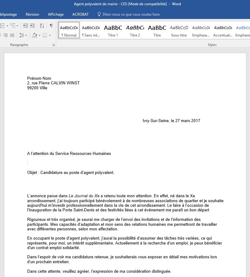 lettre de motivation polyvalent mairie