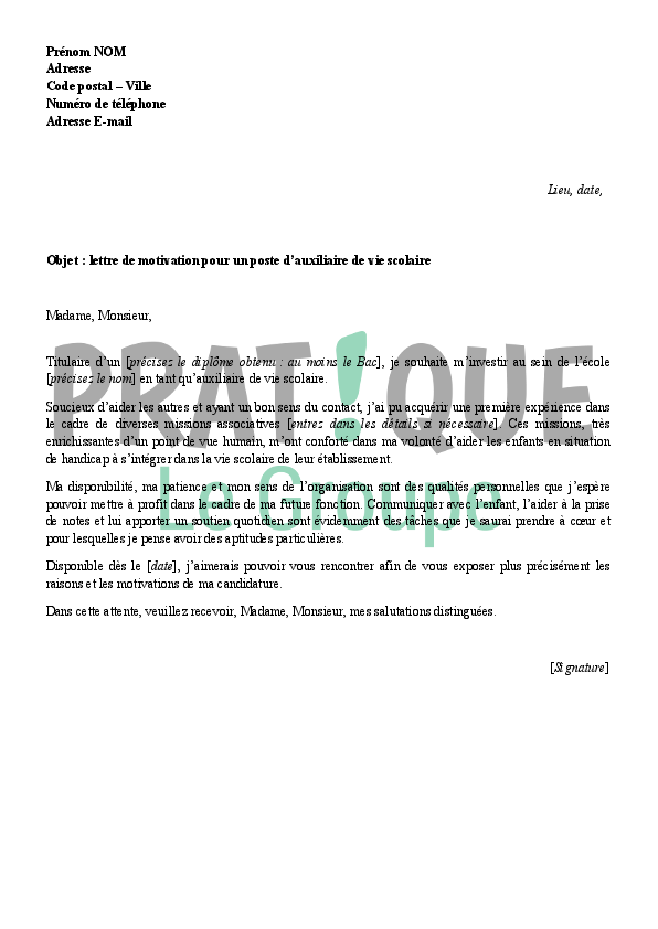 lettre de motivation pour le rectorat