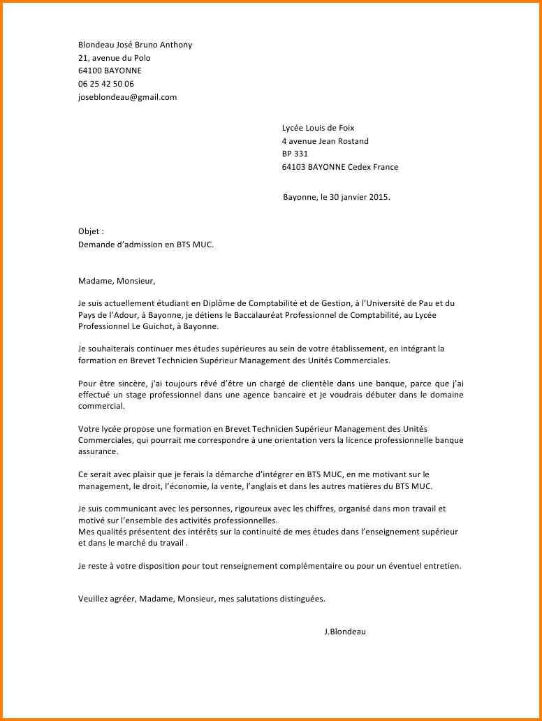 exemple lettre de motivation bts comptabilit u00e9 et gestion