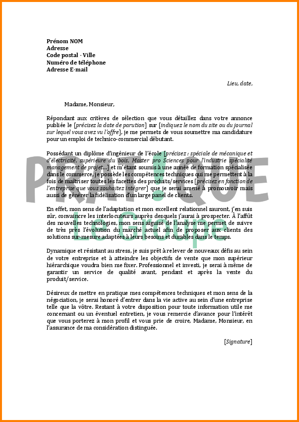 lettre de motivation bts technico commercial en alternance
