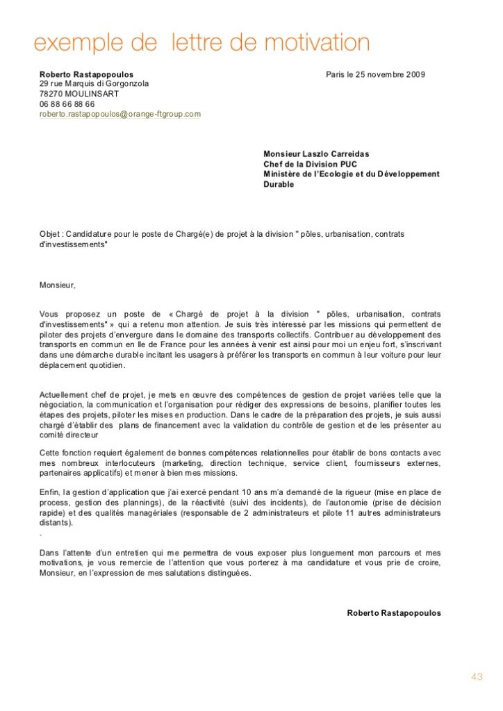 lettre de motivation management de projet