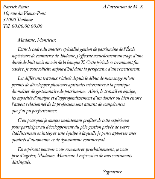 lettre de motivation ecole exemple