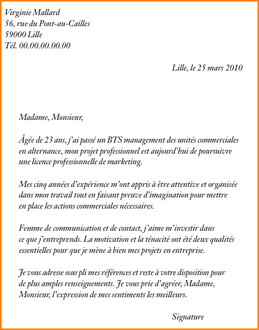 lettre motivation  u00e9cole de commerce
