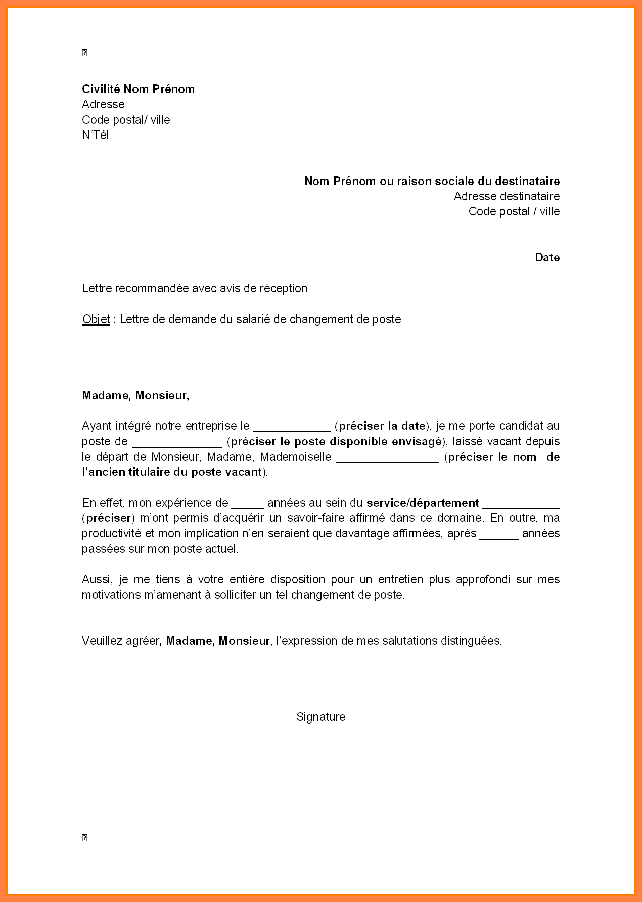 exemple de lettre de motivation employ u00e9 libre service