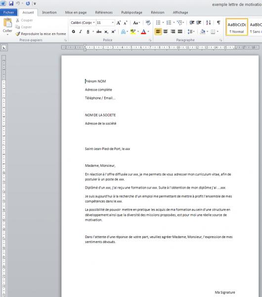 lettre de motivation exemple word
