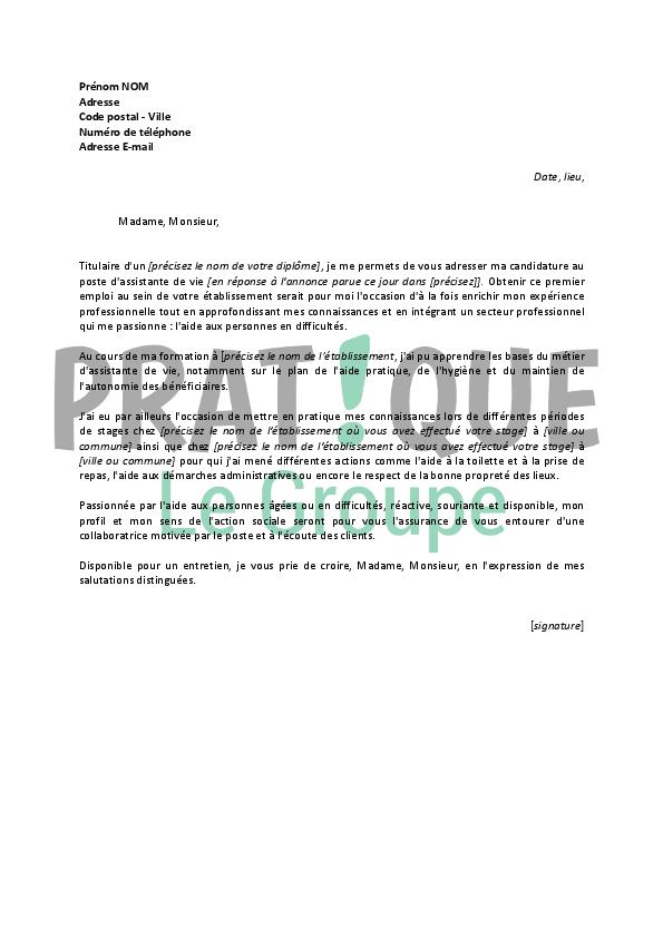 mod u00e8le lettre de motivation auxiliaire de vie scolaire