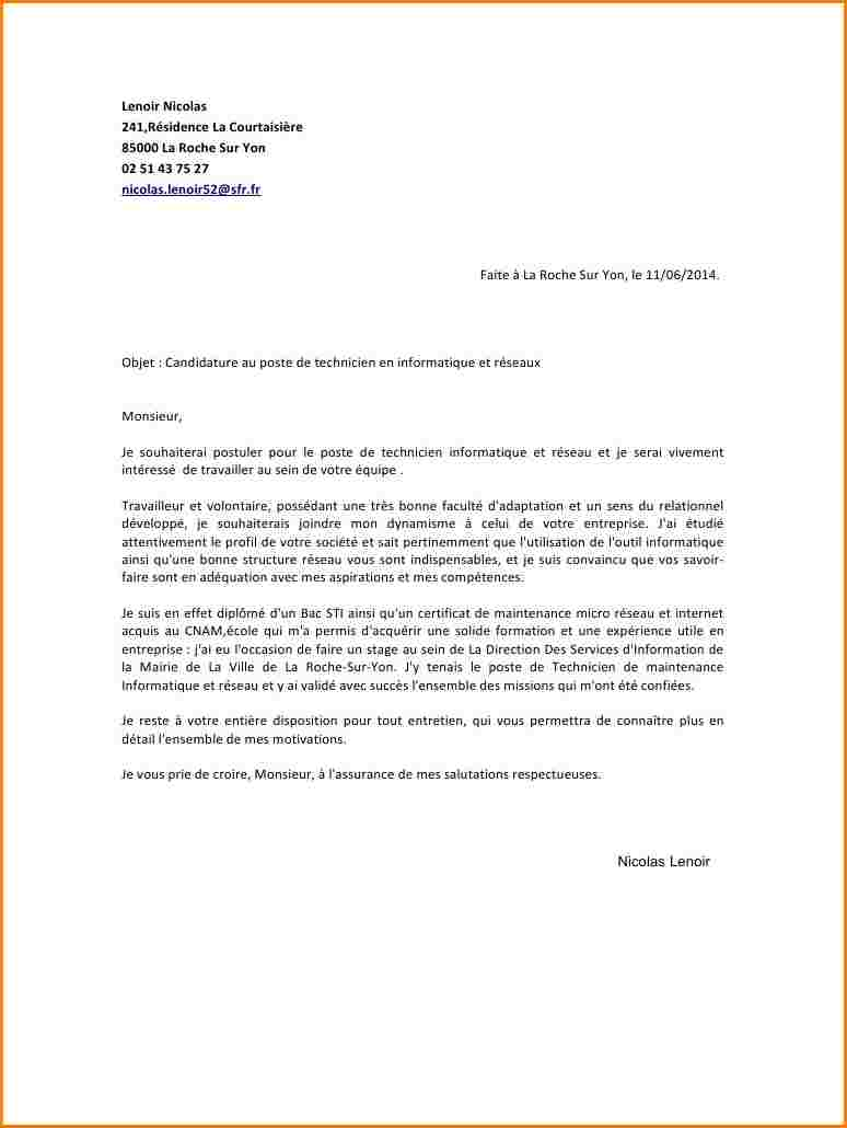 lettre de motivation edf technicien