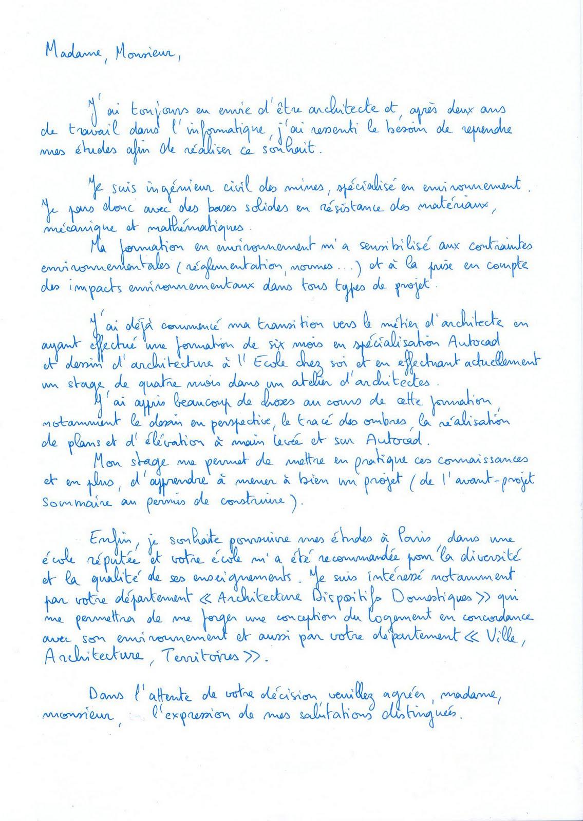 lettre de motivation  u00e9cole d architecture