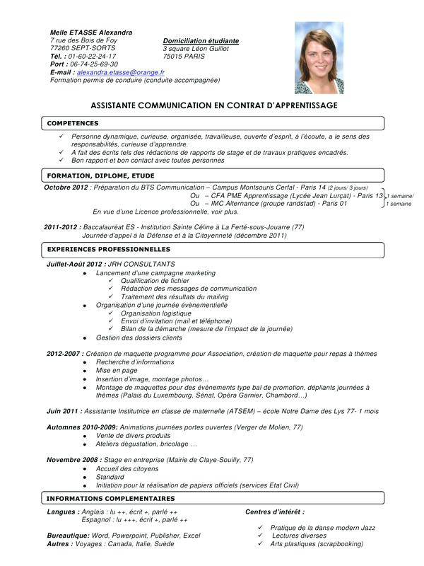 curriculum vitae pour contrat d u0026 39 apprentissage
