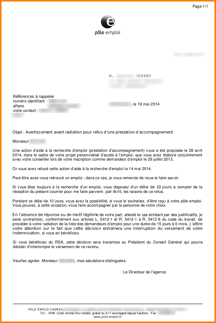 pole emploi lettre de motivation exemple