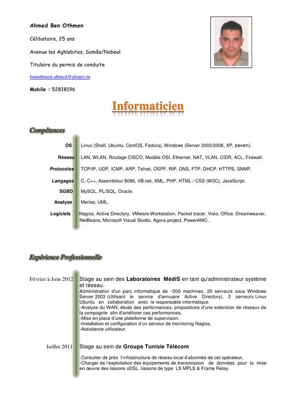 Exemple De Cv En Francais Pour Etudiant Pdf Laboite Cv Fr