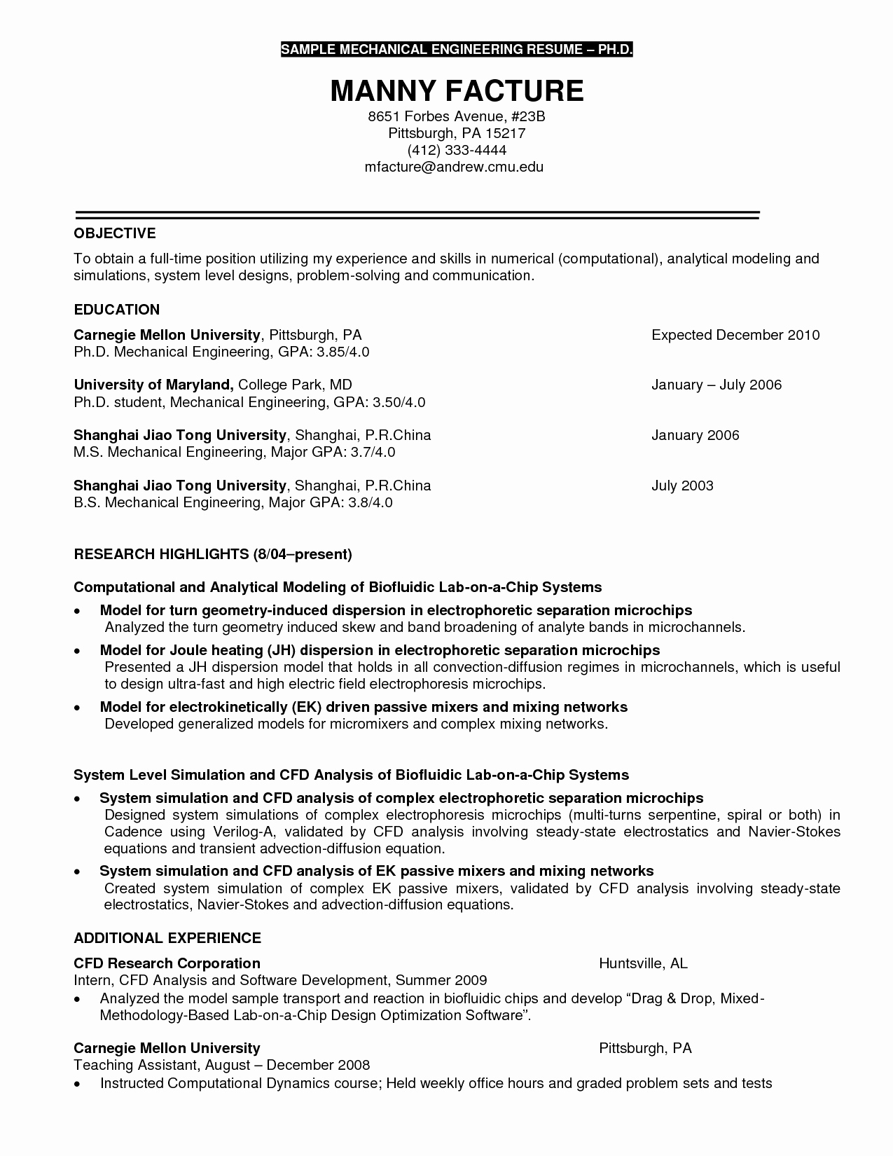 curriculum vitae for phd application