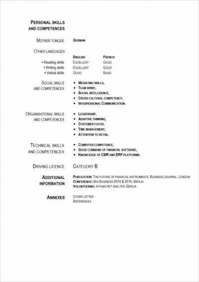 curriculum vitae in deutsch