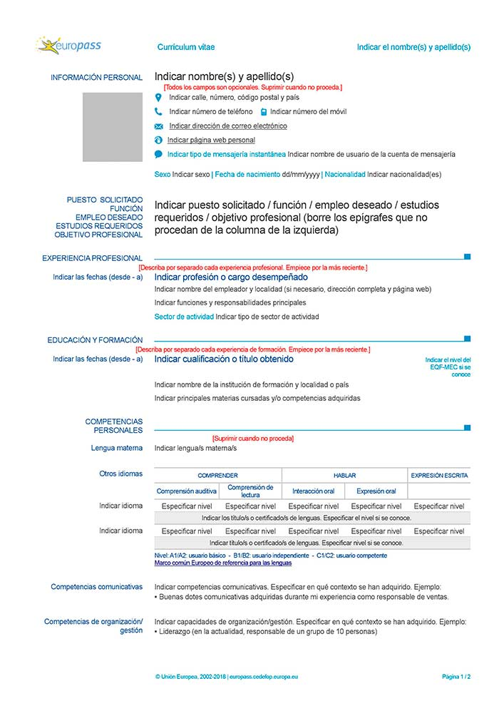 Cv europass exemple de cv.info - laboite-cv.fr