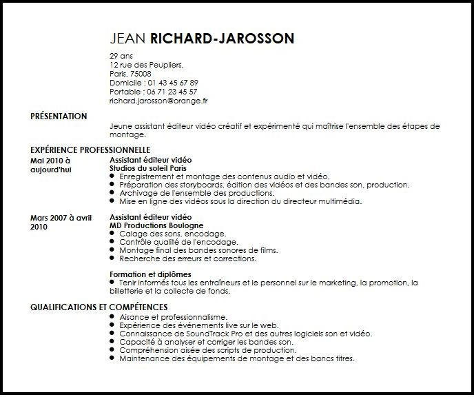 exemple cv assistant de production