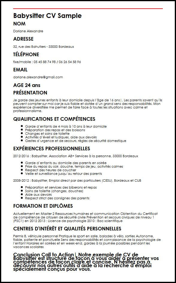 exemple de cv job  u00e9tudiant 16 ans
