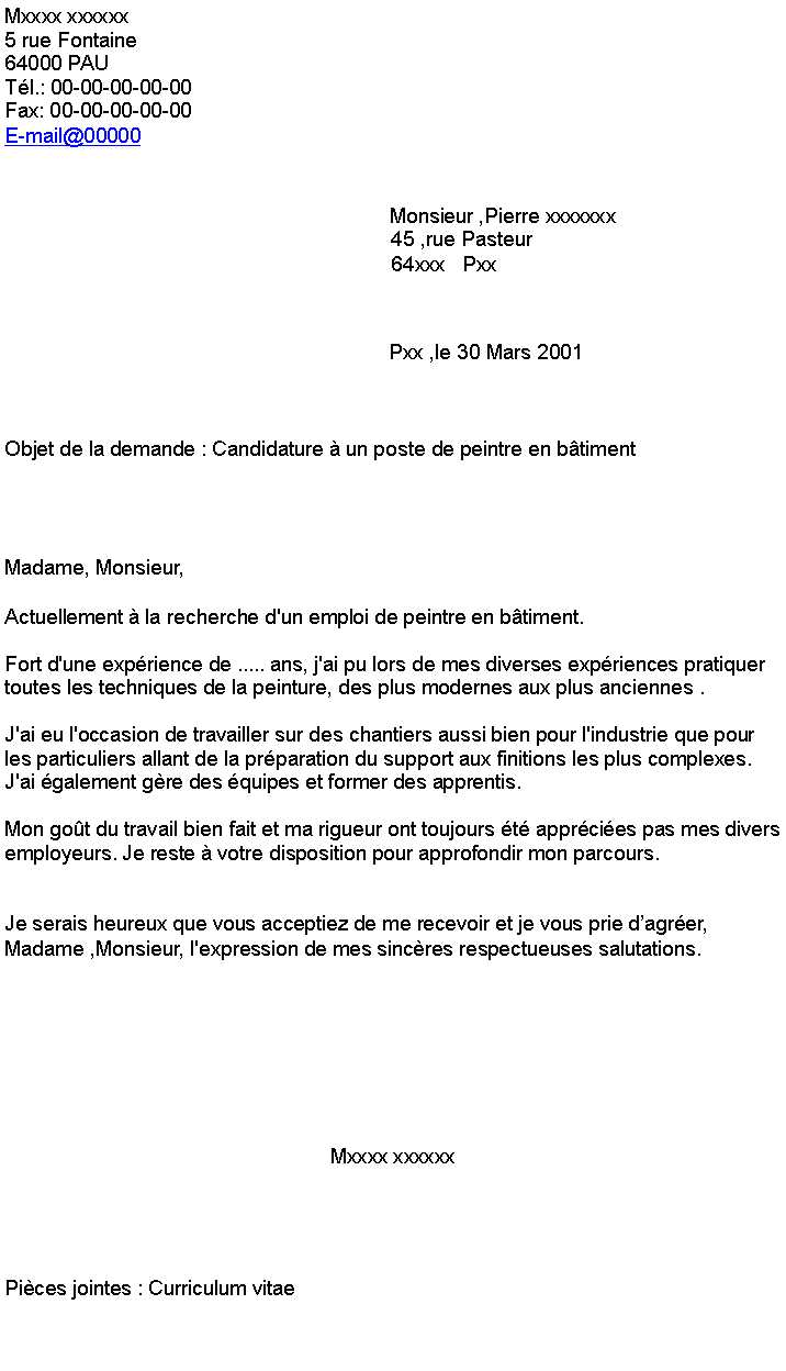 lettre de motivation peintre en batiment d u00e9butant