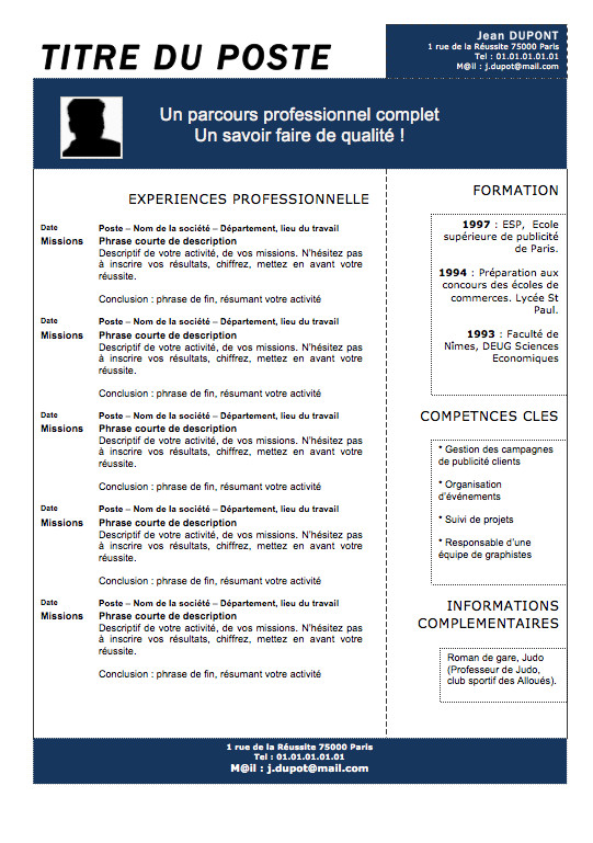 curriculum vitae th u00e9matique exemple
