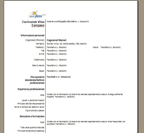 curriculum vitae europass online
