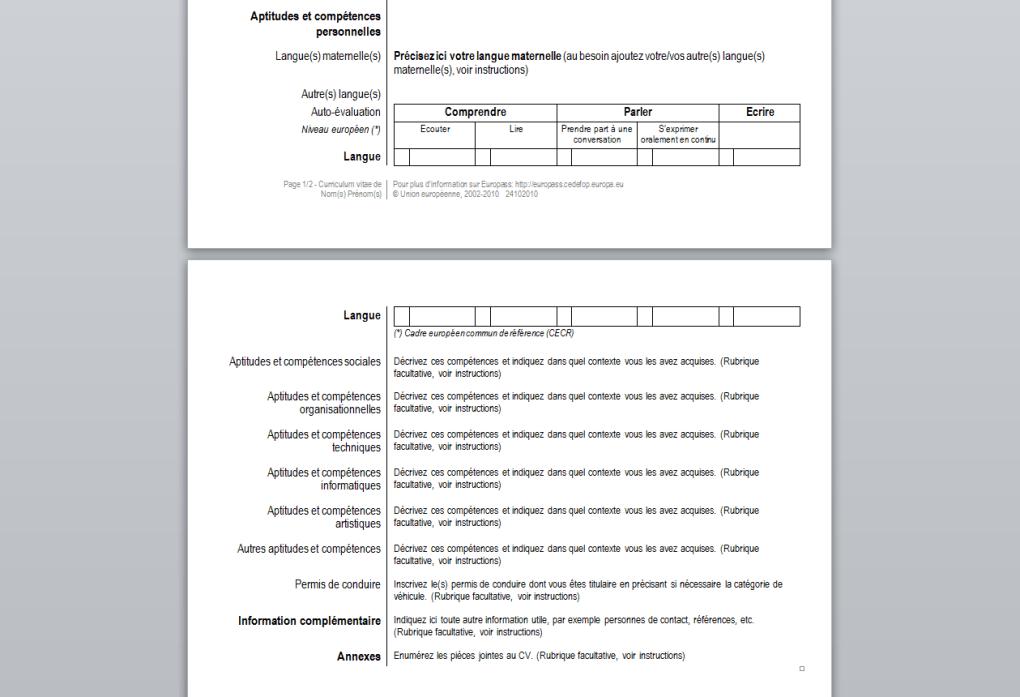 curriculum vitae mod u00e8le europass