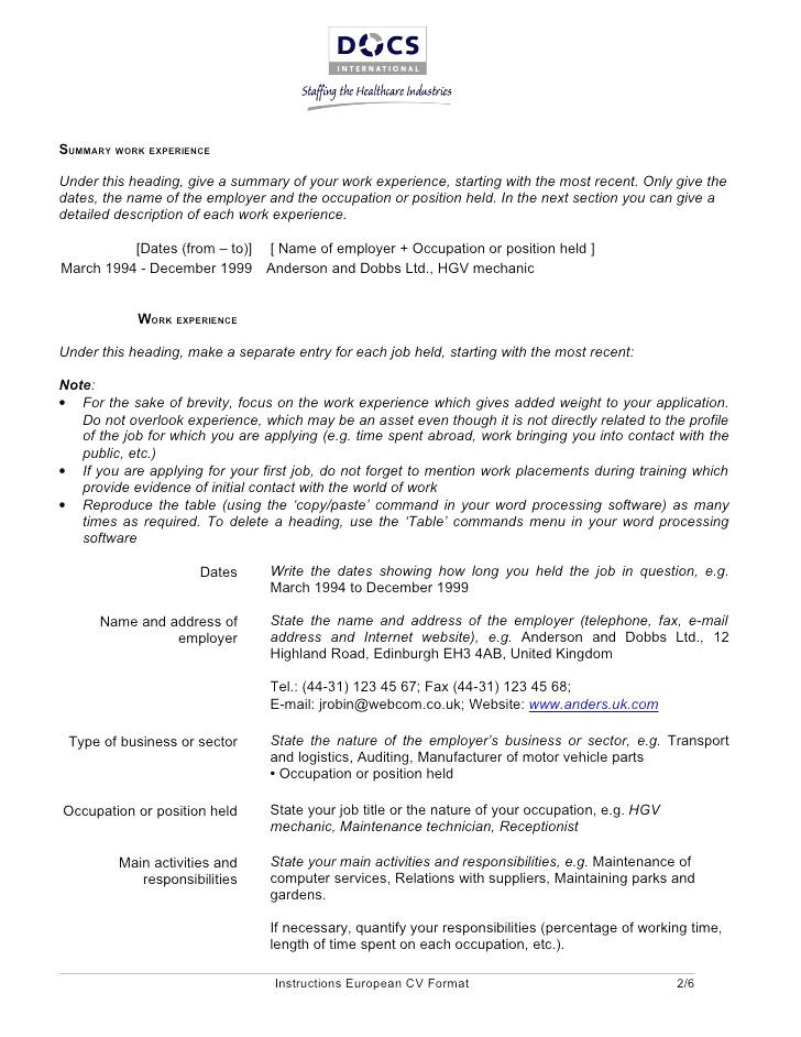 Curriculum vitae european format