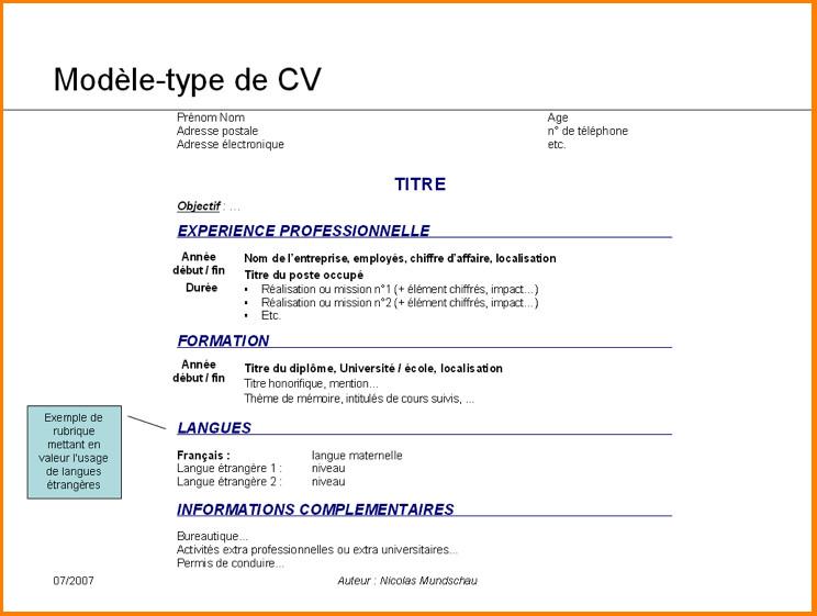 exemple de cv pour  u00e9tudiant de terminale