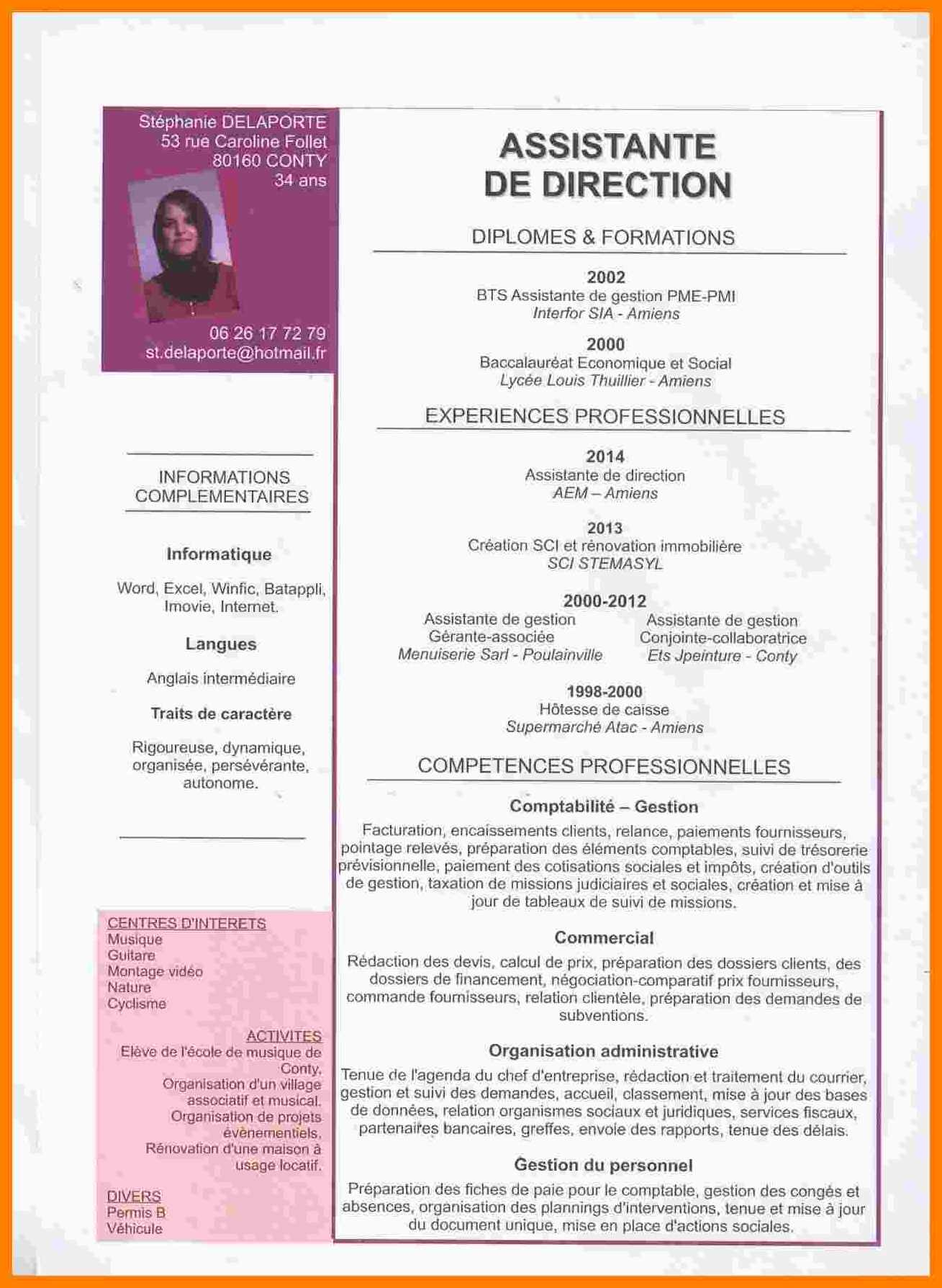 exemple de cv d une assistante de direction