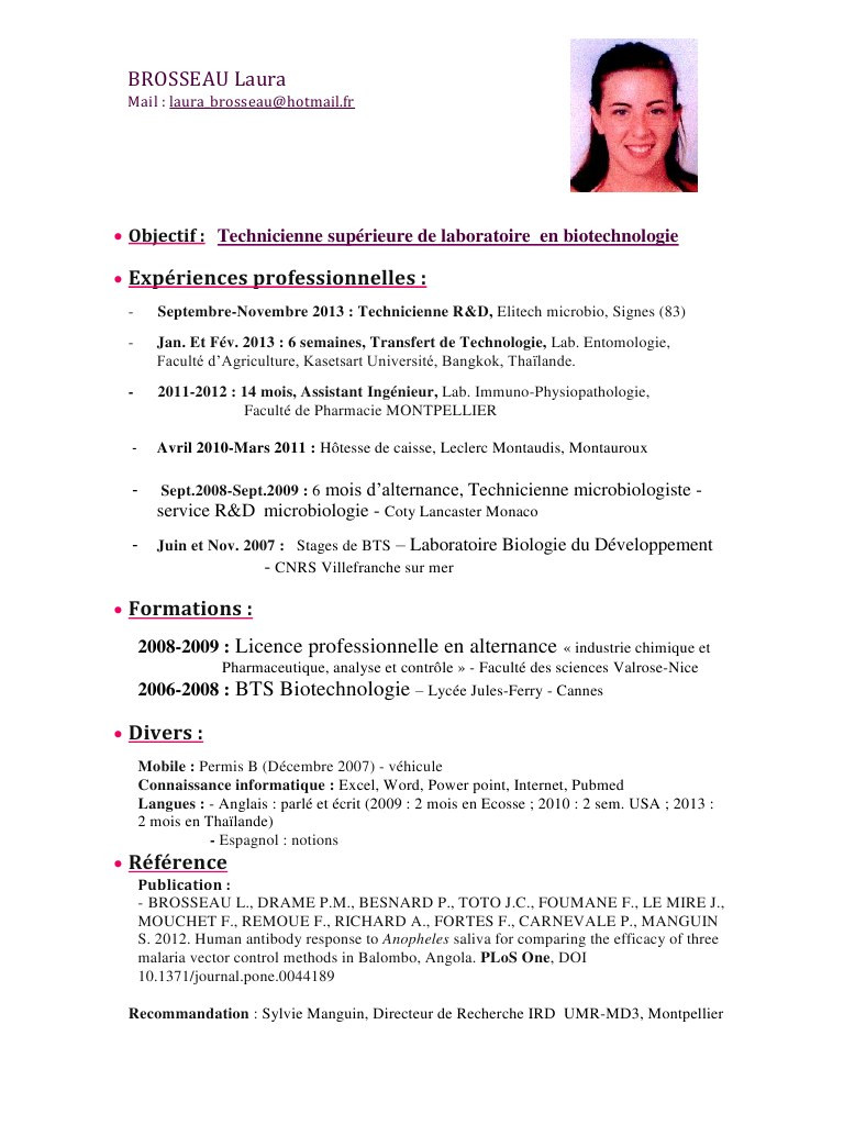exemple de cv industrie pharmaceutique