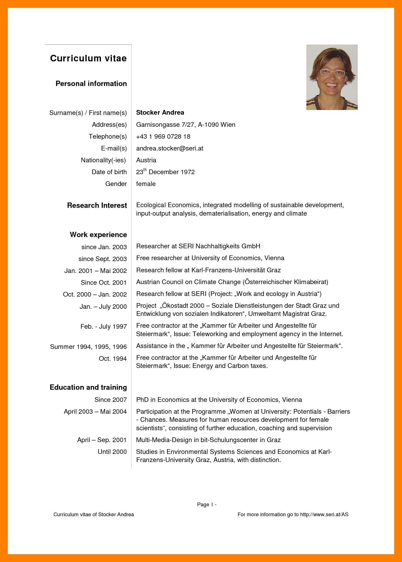 curriculum vitae examples english