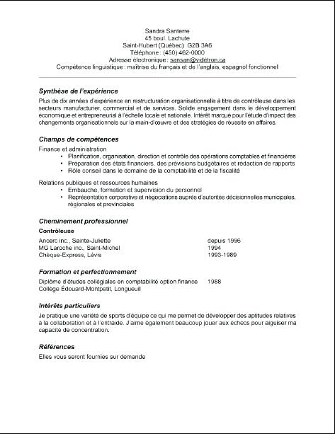 exemple de cv enseignant du secondaire