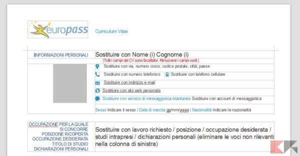 Formato curriculum vitae europeo word