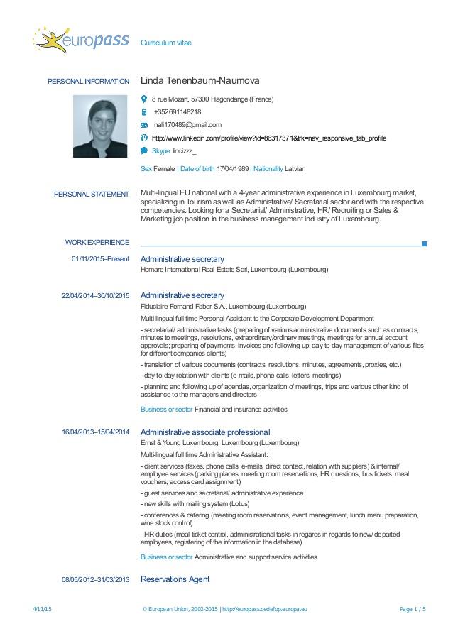 curriculum vitae luxembourg