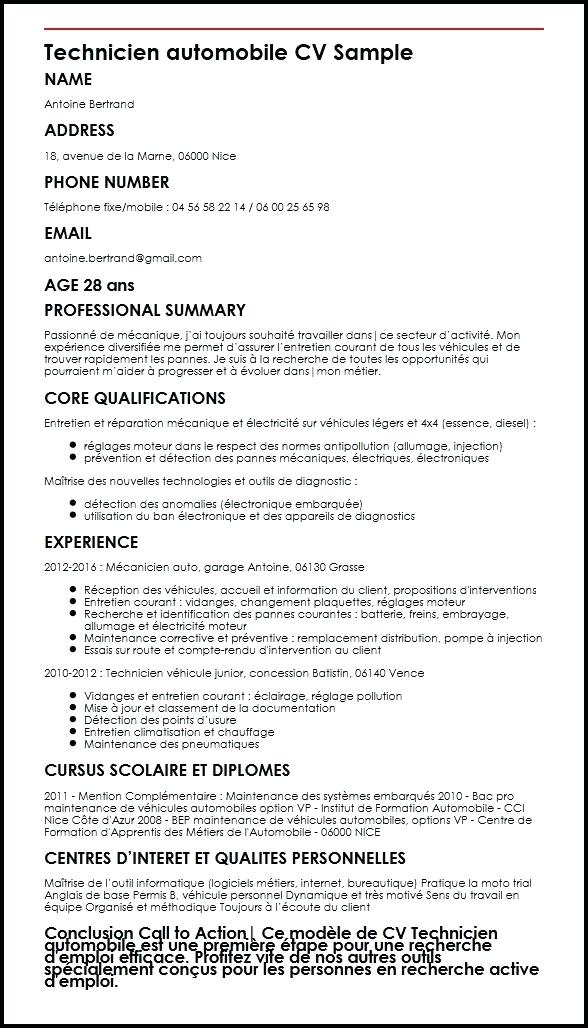 exemple de cv pour technicien informatique