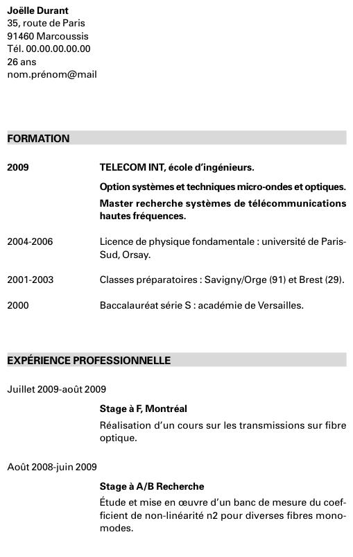 Exemple de cv pour stage en gestion administration