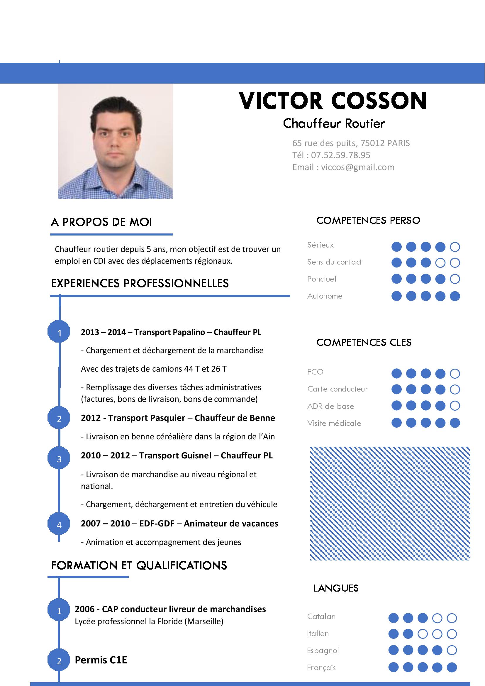 Exemple de cv chauffeur routier - laboite-cv.fr